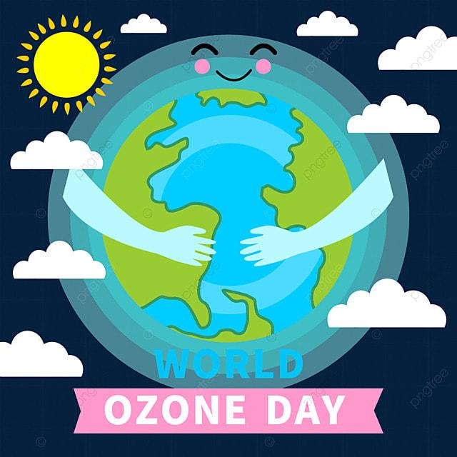 world ozone day blue cartoon illustration