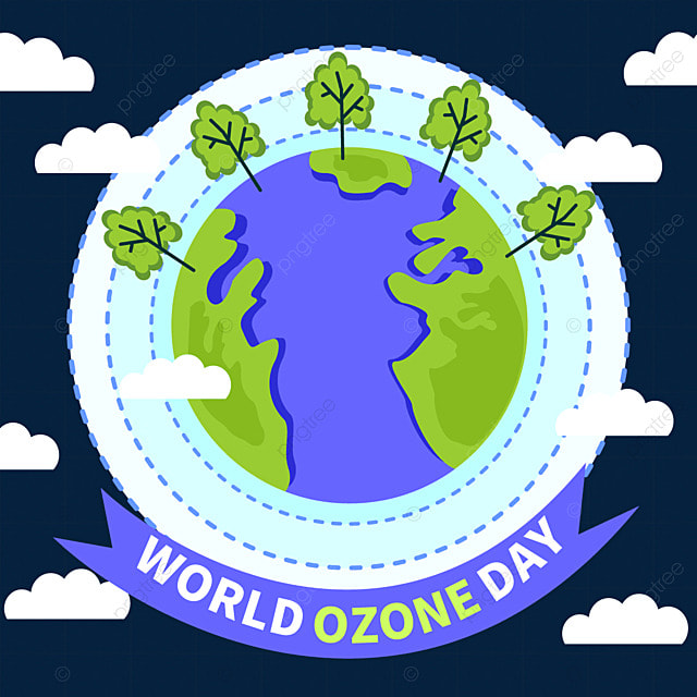 world ozone day earth and green tree illustration