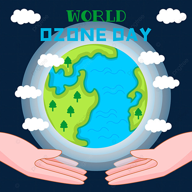 world ozone day earth and hands illustration