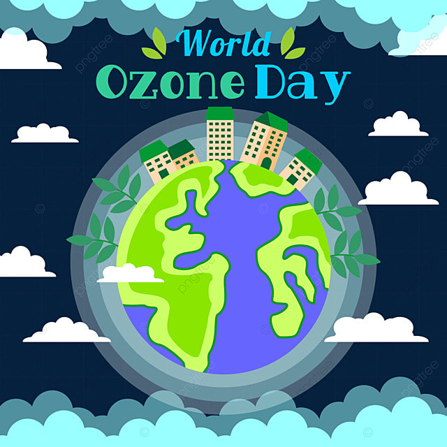 world ozone day earth human settlement environment illustration