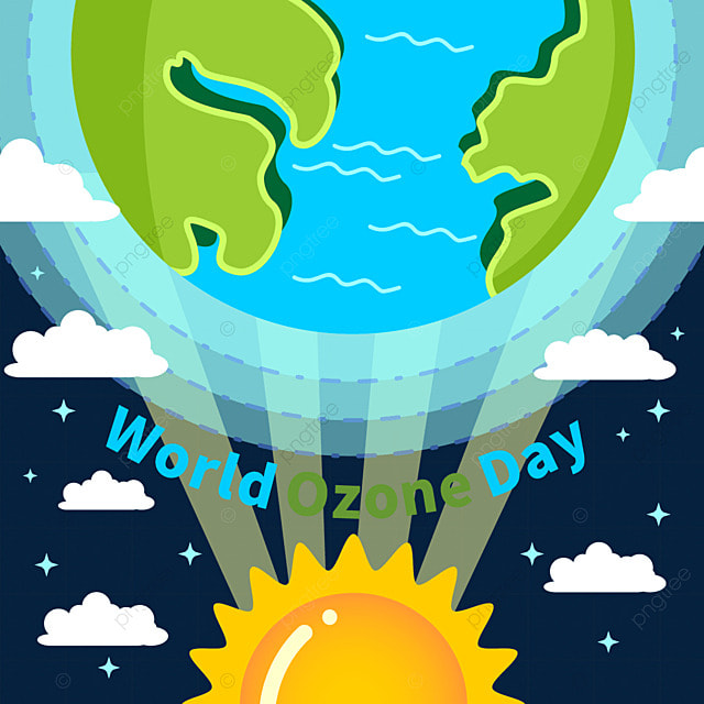 world ozone day green earth and orange sun illustration