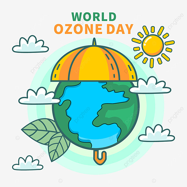 world ozone day protection layer cute illustration