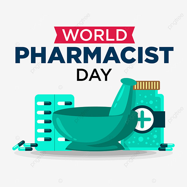 world pharmacist day celebration with medicine pill capsule and mortar illustration