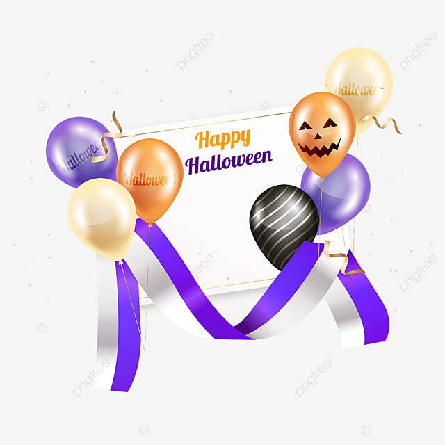 halloween party ribbons and balloons