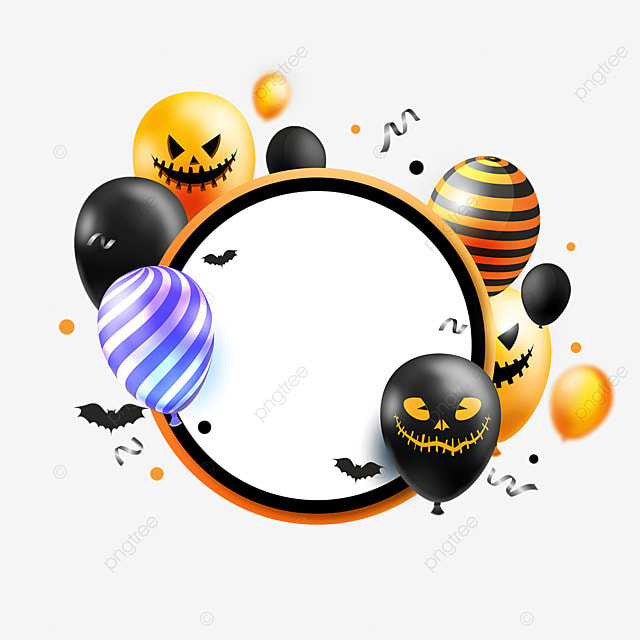 halloween balloons and greeting card colorful