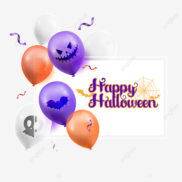 halloween card and balloons