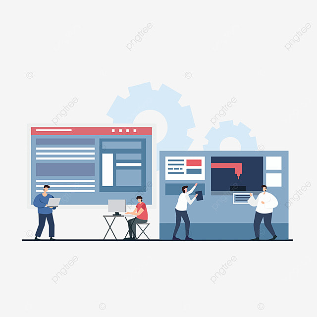 3d printing technology engineer using computer printer illustration