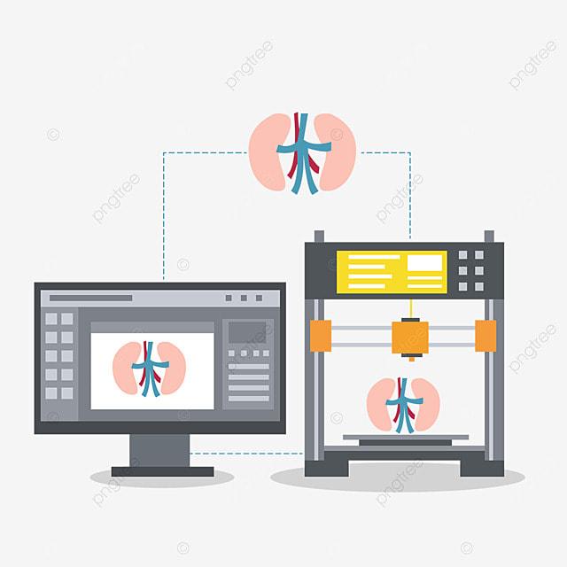 3d printing technology human organ printing illustration