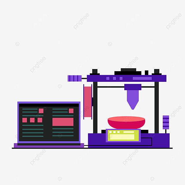 3d printing technology laptop printer illustration