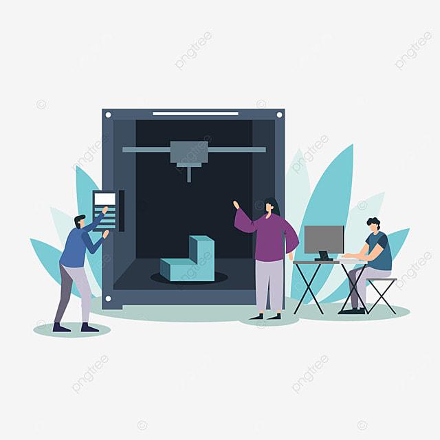 3d printing technology printer employee illustration