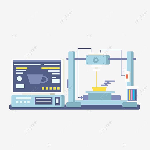 3d printing technology printer equipment illustration