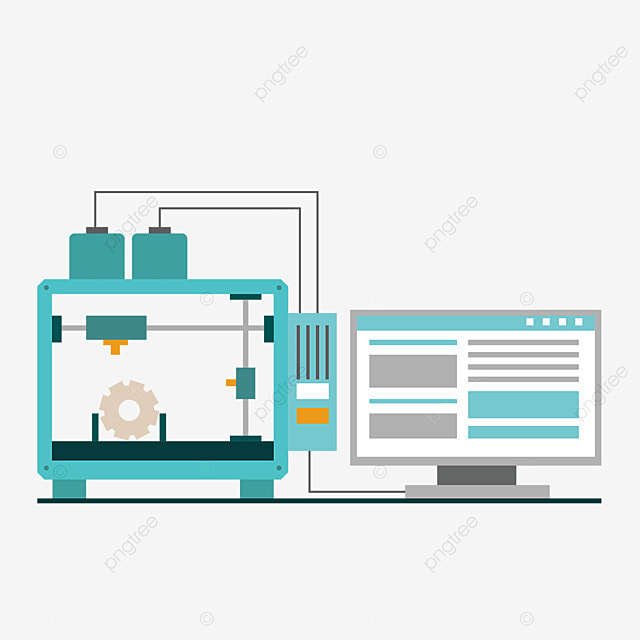 3d printing technology printer link computer illustration