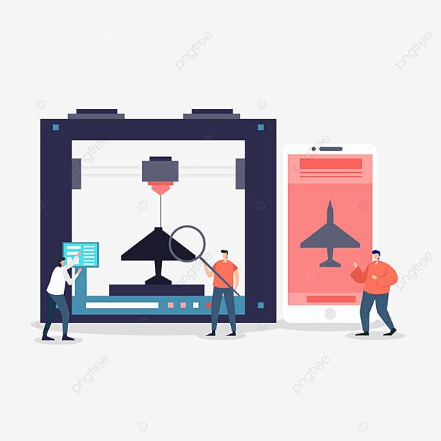 3d printing technology printer mobile device illustration