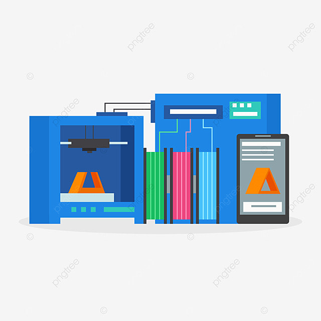 3d printing technology printer smartphone illustration