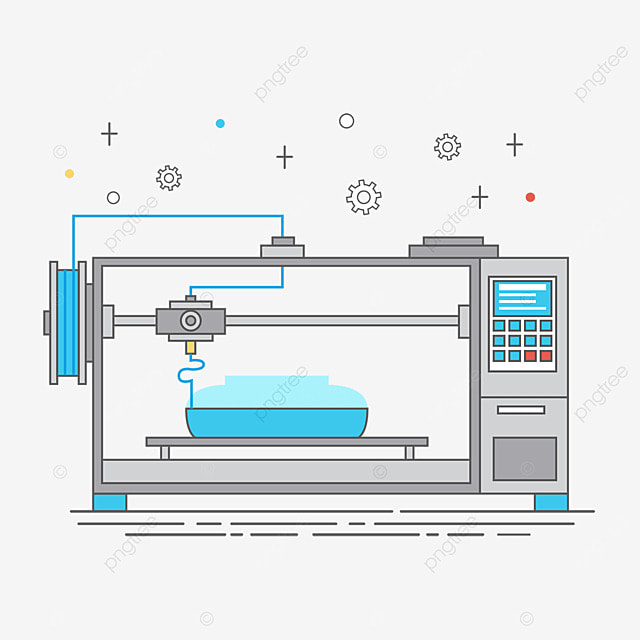 3d printing technology printer working process illustration