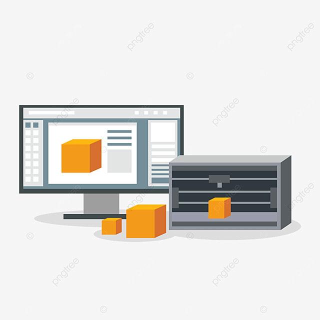 3d printing technology three dimensional printer equipment illustration