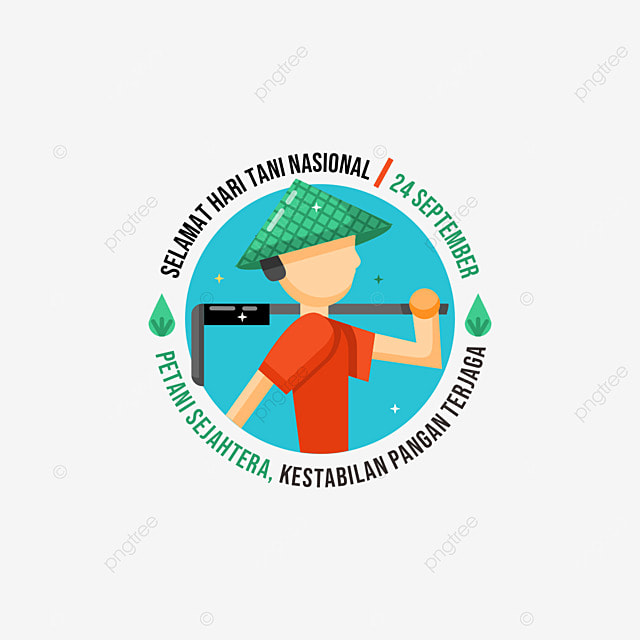 happy indonesian farmers day illustration with transparent background