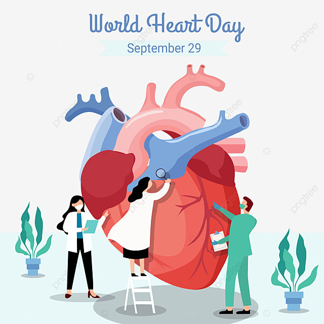 world heart day greeting september 29 with big flat checked by doctor vector illustration
