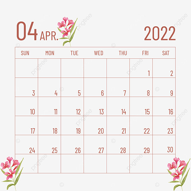 2022 april calendar plant flower red