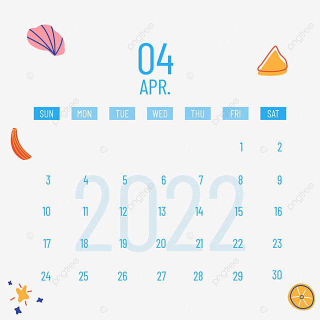 2022 april calendar plants and flowers