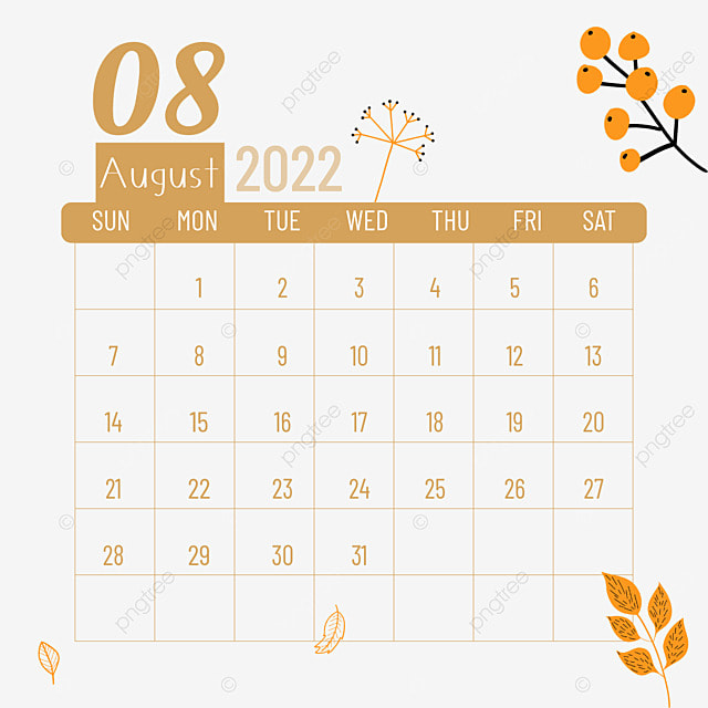 2022 august calendar plants and flowers