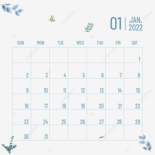2022 january calendar plant flower blue