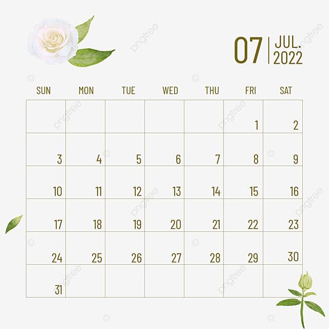 2022 july calendar plant flower line