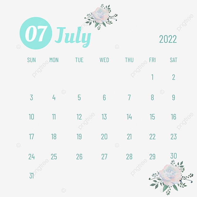 2022 july calendar plants and flowers