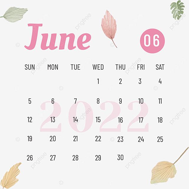 2022 june calendar plant flower pink