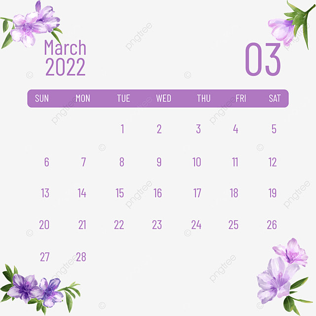 2022 march calendar plants and flowers
