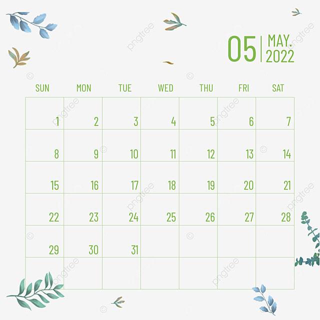 2022 may calendar plant flower green