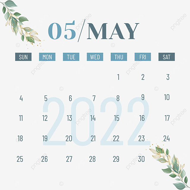 2022 may calendar plants and flowers