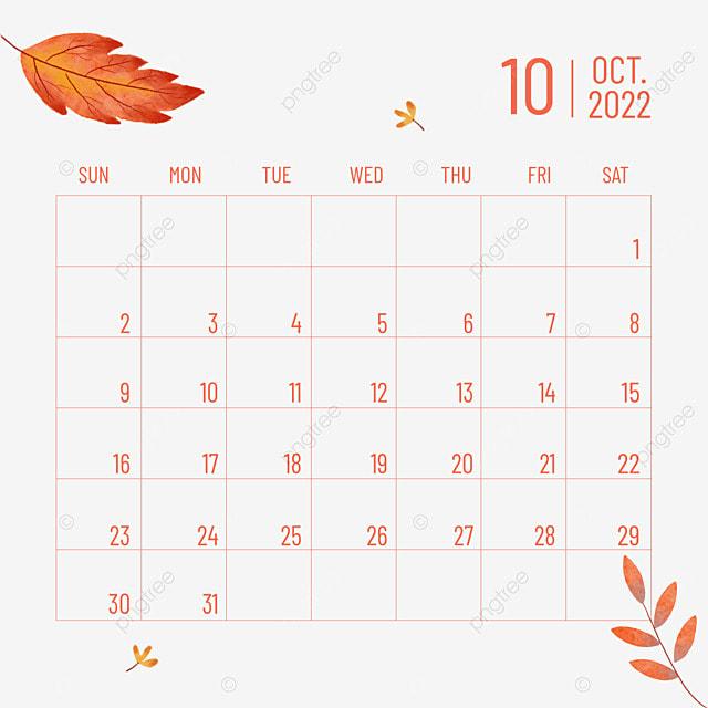 2022 october calendar plant flower leaves