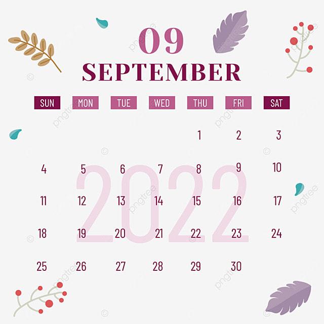 2022 september calendar plants and flowers