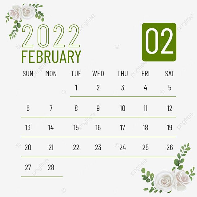 february 2022 calendar plant flower green