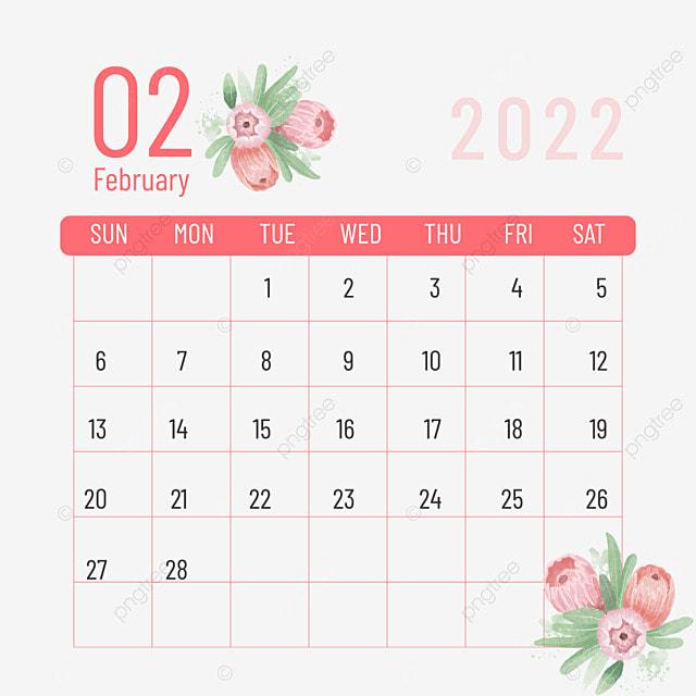 february 2022 calendar plant flower pink