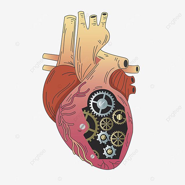 heart gear vintage steampunk illustration