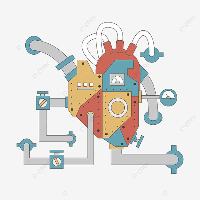 heart machine mechanical retro steampunk style