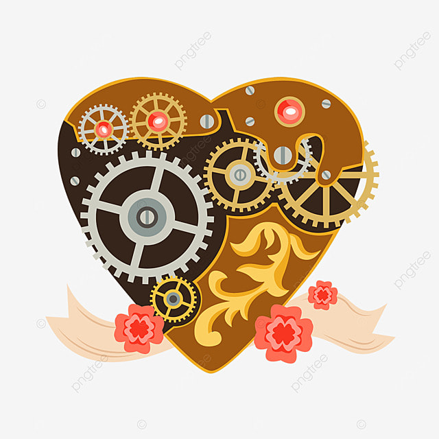 heart shaped metal mechanical gear flower steampunk love