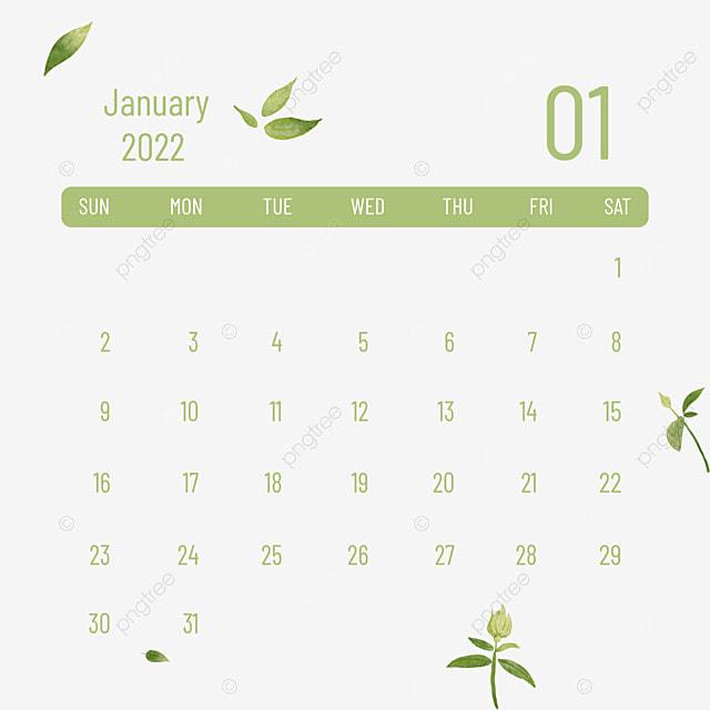 january 2022 calendar plants and flowers