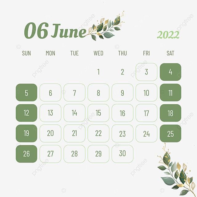 june 2022 calendar plant flower leaves