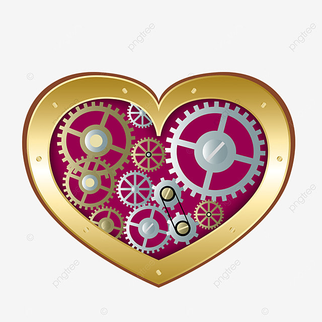 love mechanical gear retro steampunk illustration