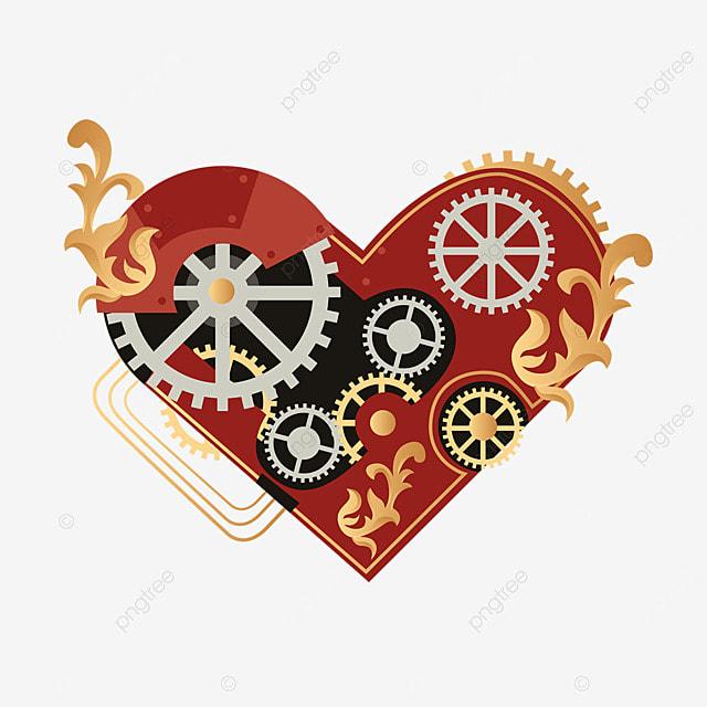 love mechanical gear retro steampunk