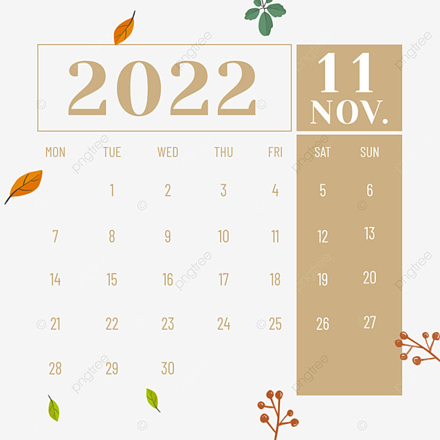 november 2022 calendar plant flower yellow
