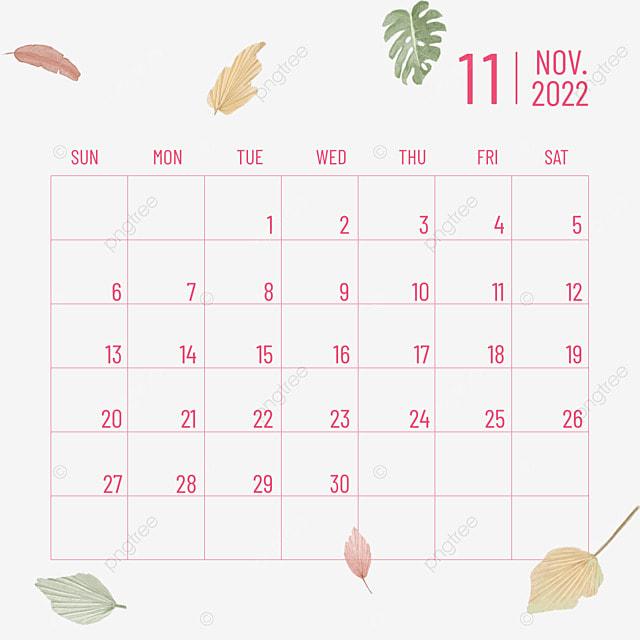 november 2022 calendar plants and flowers