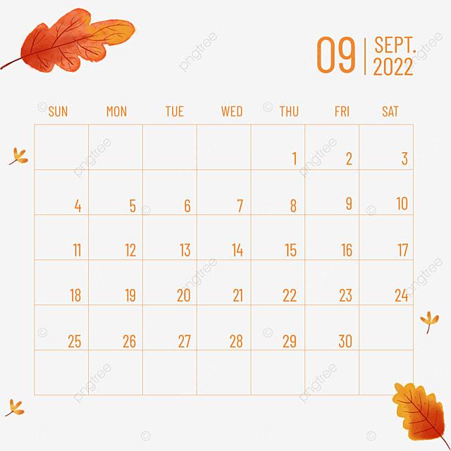september 2022 calendar plants and flowers autumn