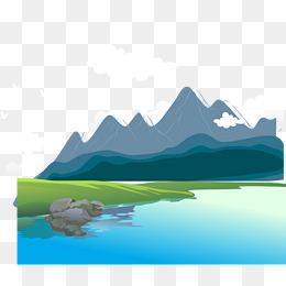 Gunung Yang Tinggi Dan Air Yang Mengalir Png Vektor Psd Dan Untuk