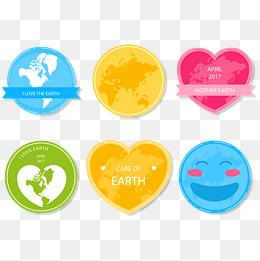 vector earth day color sticker, The Earth Day, Stickers, Color PNG and Vector