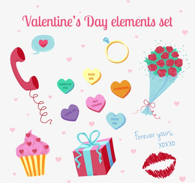 12 Color Elemento Vector De San Valentín Color El Día De San ...