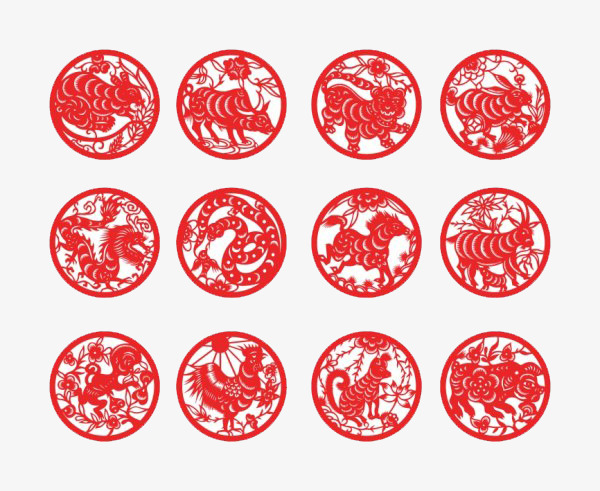 12 Lunar New Year Paper Cut Red Circle Vector